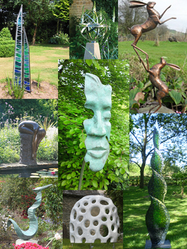 Some of the sculptures at Wyndcliffe Court