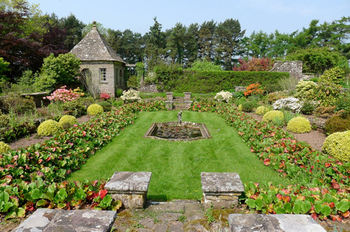 Wyndcliffe Court Gardens - the sunken garden and summerhouse